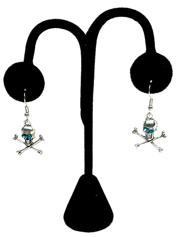 Halloween Fashion Skull Danger Dangle Earrings For Women / AZAEHA004-ASB