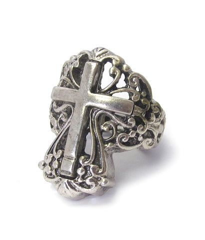 Trendy Fashion Christian Religious Cross Stretch Ring For Men and Women / AZRICR266-BSL