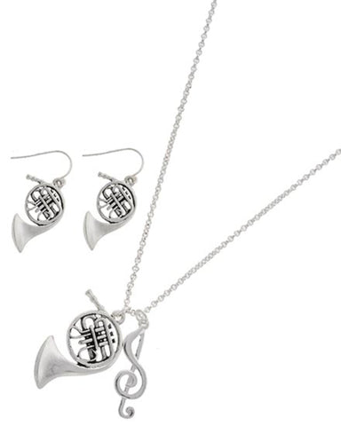 Antique Silver Music Theme Necklace Set / AZBBMU485-ASL