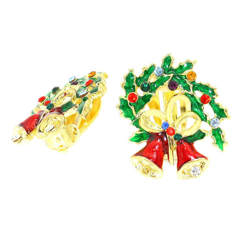Christmas : Crystal Enamel Christmas Wreath Bell Clip on Earrings / AZERCO100-GMU-CHR