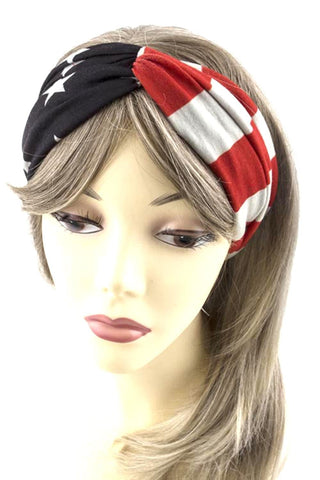 American Flag Print Fabric Headband / Hair Accessory / AZFJPB023-RBW-PAT