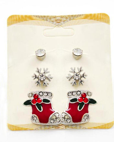Christmas Theme - Button & Stud / Post Earring Set / 3 Pair Packed Item / Azerfh151-srd-chr