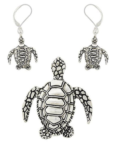 Sea Life Theme Turtle Pendant Set / AZNSSEA756-ASL