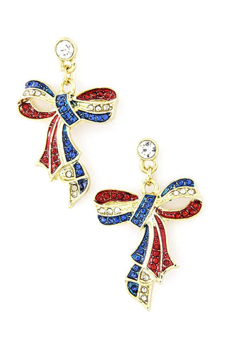Fashion Independence Day American Flag Crystal Bow Dangle Earring Set For Women