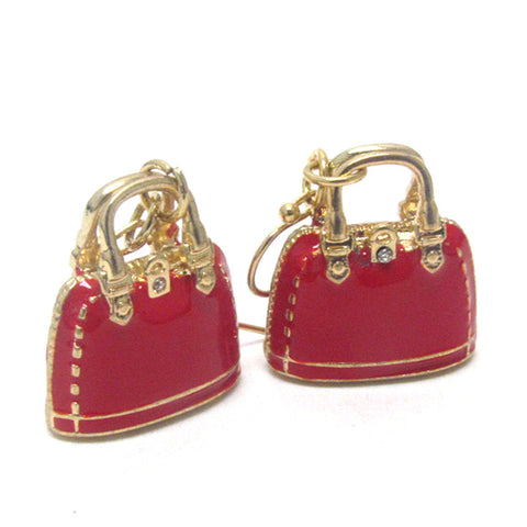 Fashion Trendy Premier Electro Plating Crystal and Epoxy Deco Handbag Earrings For Women / AZERFH163-GRD