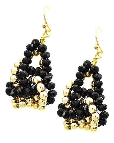Gold Tone Black Glass Crystal Dangle Fish Hook Earring Set / AZERFH306-GBK
