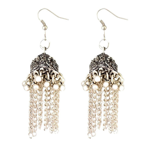 Fashion Boho Gypsy Cute Bell Chain Tassel Dangle Earrings For Women / AZERAL035-ASL