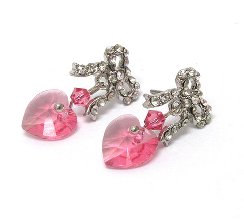 Crystal Bow Ribbon & Heart Earrings - Silver/Pink / AZERFH154-SPK-HRT