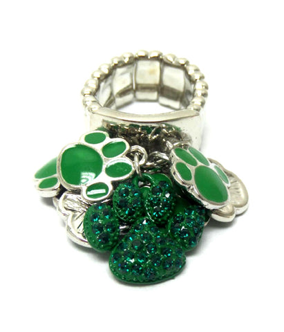 Sports - Crystal Paw Print Charms Stretch Ring