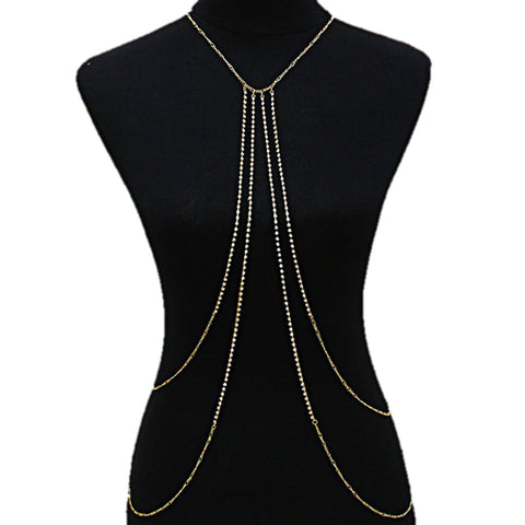 Fashion Trendy Crystal Gold Metal Drape Necklace Body Chain For Women / AZFJBC040-GCL