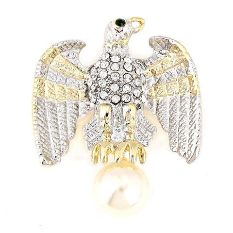 Independence Day Imitation Pearl Accented Crystal Pave Eagle Brooch / AZFJBR341-GSC-PAT