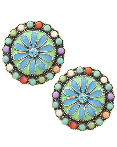 Flower Button Post Round Earring / AZERFH885-ATM