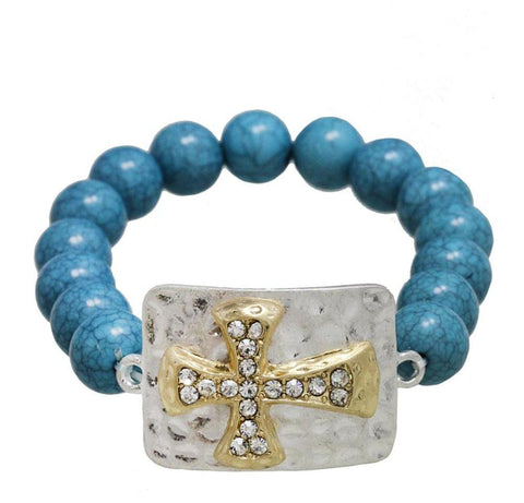 Arras Creations Fashion Trendy Turquoise with Cross Bracelet for Women / AZBRST075-SGT