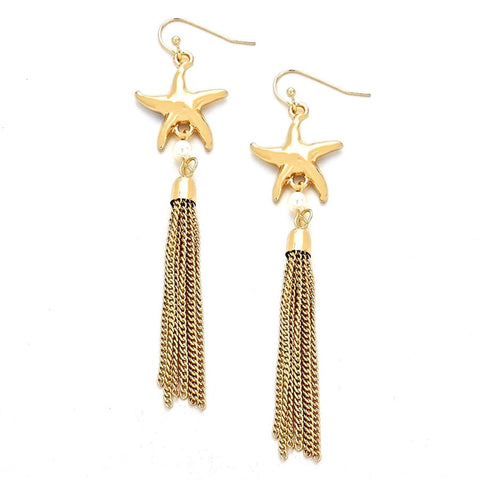 SEALIFE: STARFISH - LINK CHAIN TASSEL EARRINGS / AZERSEA416-GPL