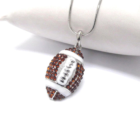 Crystal stud football pendant necklace - Silver/White-Brown / AZSJCH003-SBR