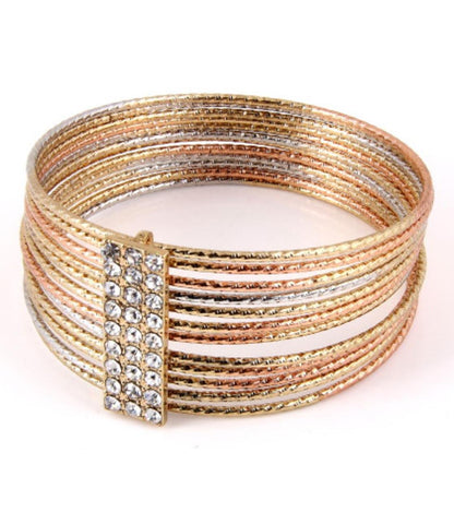 Bangle - Clear Rhinestone with Silver & Gold Color Metal for Women Girls