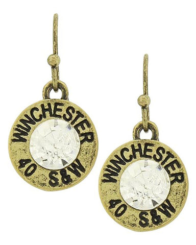 WESTERN THEME : 40 S&w Winchester Dangle Fish Hook EARRINGS / AZERSW005-AGC