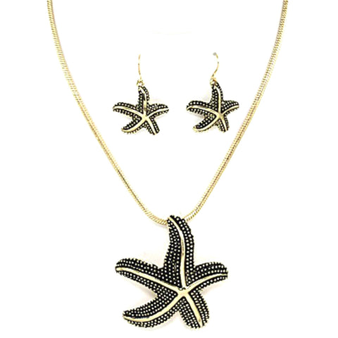 Sea Life Theme Starfish Necklace Set / AZNSSEA209-AGL