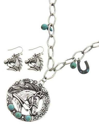 Western Theme Horse Patina Metal Pendant Earring Set for Women