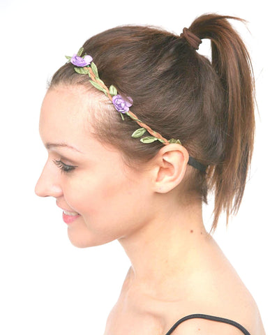 Braided Cord with Leaves and Flower Stretch HeadBand For Women