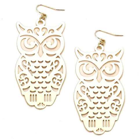 HALLOWEEN: OWL FILIGREE CUT OUT EARRINGS / AZERFH517-GLD-HAL