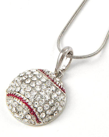 Baseball Pendant Necklace / Rhodiumized / Clear Rhinestone / AZSJCH009-SRD