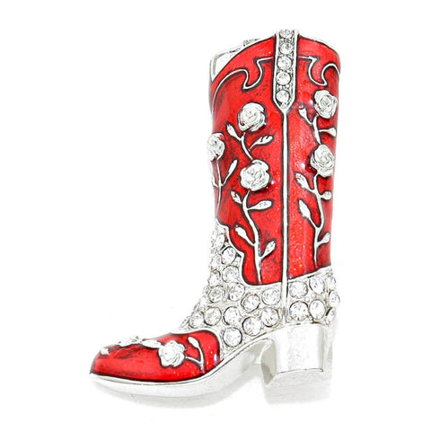 Crystal Accented Enamel Western Boot Brooch