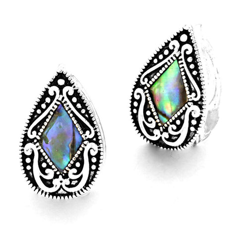 Fashion Abalone Filigree TearDrop Magnetic Clip On Earrings for Women / AZERCO530-ASB