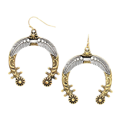 WESTERN THEME Tribal Metal Feather Horseshoe Hoop Earrings / AZERSW067-ASG