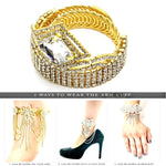 Arras Creations Fashion Trendy Square Rhinestone Arm Cuff/Bracelet for Women/Anklet for Women / AZABRH370-GCL