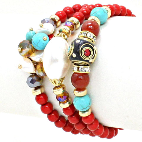 Fashion Trendy Dual Function Multi Bead Bohemian Stretch Bracelet For Women / AZBRST045-GRD