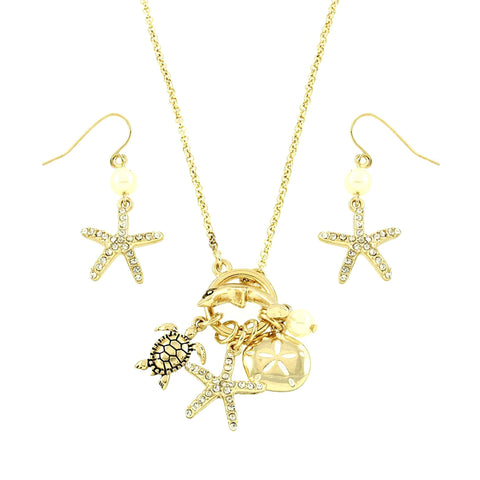 Arras Creations Sea Life Theme Starfish Turtle Dolphin Necklace Set / AZNSSEA212-GLD