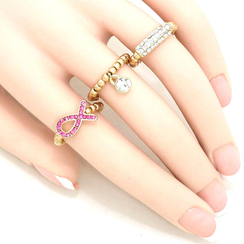 Pink Ribbon Stretch Ring Set - Breast Cancer Awareness / AZRIBCA003-GPC