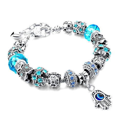 Arras Creations Fashion Trendy Hamsa Charms Evil Eye Bracelet for Women / AZBRCHA02-SBL