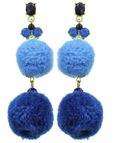Fashion Trendy Pom Pom Dangle Earrings for Women / AZERPP003