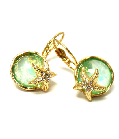 Sea Life / Beach Crystal Starfish and Abalone Finish Puffy Stone Euro Style Earring / AZERSEA004-GGR