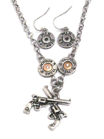 Western Style Fashion Trendy Western Gun & Bullet Charm Necklace Set for Women