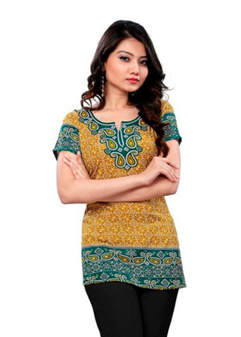 Arras Creations Indian Tunic Top Womens/Kurti Printed Blouse Tops - AZDKJD-74C