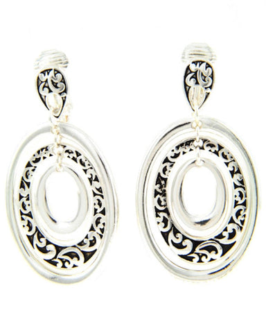 Antique Silver Tone Oval Dangle Filigree Clip-on Earring / AZERCO103-ASL