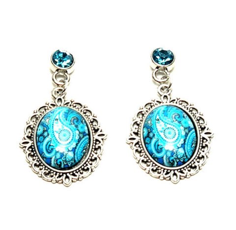 Trendy Fashion Cameo Hollow Lacework Cabochon Earrings for Women / AZEACS902-ASB