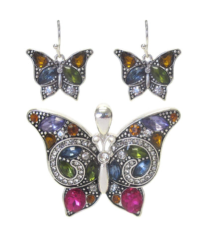Arras Creations Fashion Trendy Crystal Butterfly Pendant Set For Women/AZFJPS001-SMU