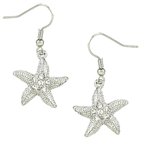 Sea Life / Starfish Dangles Fish Hook Earring / AZERSEA561-SCL