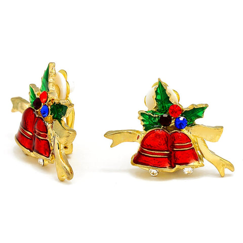 Christmas : Crystal Accented Enamel Christmas Bell Clip on Earrings / AZERCO081-GMU-CHR