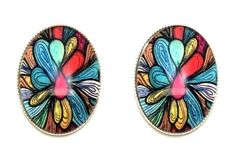 Trendy Fashion Cameo Cabochon Peacock Print Button Post Earrings for Women / AZEACPM01-SSW