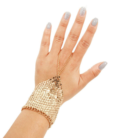 Fashion Gold Metal Hand Bracelet with Chain Ring for Women