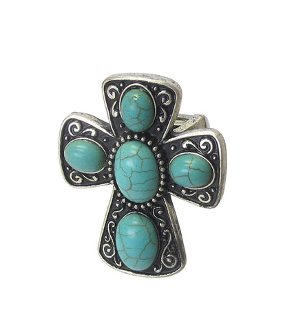 Trendy Fashion Christian Religious Cross Stretch Ring For Men and Women / AZRICR545-BST