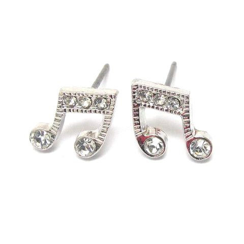 Premier Electro Plating Crystal Music Note Stud Earrings / AZERMU002-SCL