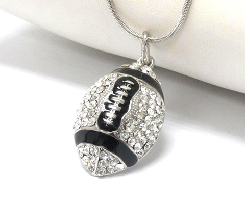 Crystal stud football pendant necklace - Silver/Black