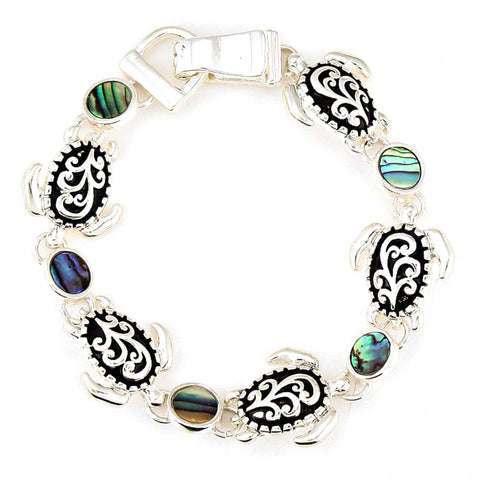 Sea Life / Filigree Turtle Magnetic Bracelet / AZBRSEA425-SAB