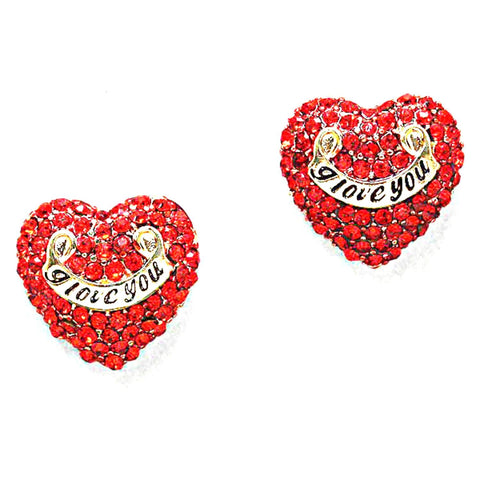 Valentine : Heart Rhinestone Stud Earrings for Women